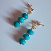 Turquoise rondelle earrings