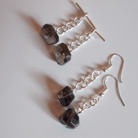 Smokey quartz earrings and cufflinks set