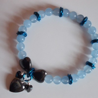 Blue quartz elasticated bracelet