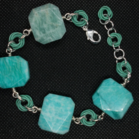 amazonite and chainmaille bracelet
