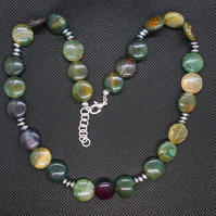 Agate coin necklace