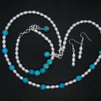 Turquoise Jasper and Pearl set
