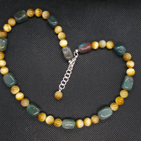 Golden tiger's eye and jasper necklace