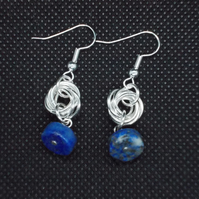 Lapis lazuli wheel and chainmaille drop earrings
