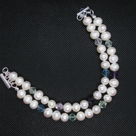 Two strand pearl and fluorite bracelet