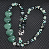 Aventurine heart and agate statement necklace