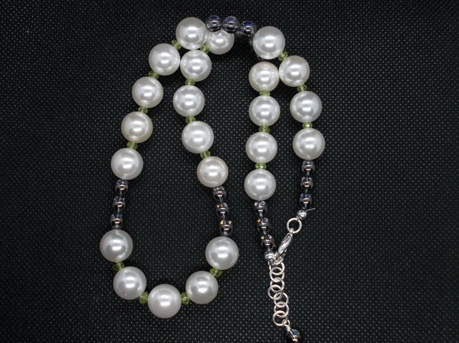 Shell Pearl, Period and Grey Quartz Necklace