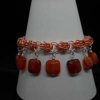 Two tone chainmaille bracelet with red agate squares