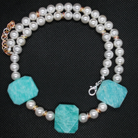 Shell pearl and amazonite necklace