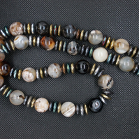 Marble agate and haematite statement necklace