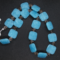 Aqua frosted quartz and smokey quartz necklace