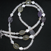 Freshwater cultured pearl and quartz necklace