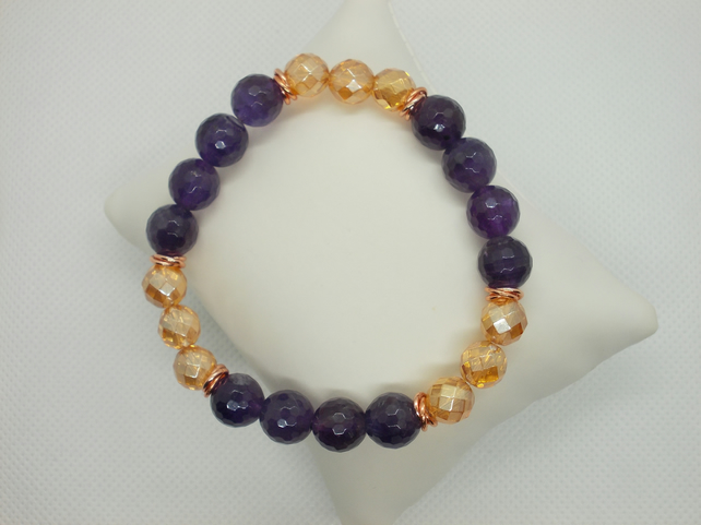 Amethyst and golden coated quartz bracelet