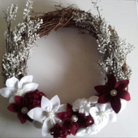 Red and White felt Christmas Wreath