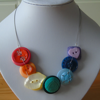 Rainbow Necklace - Button Necklace