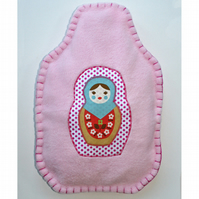 Russian doll hot water bottle cover (pink)