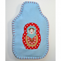 Russian doll hot water bottle cover (blue)