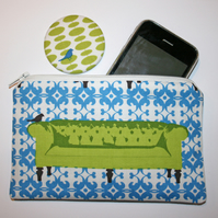 Purse and mirror - green sofa