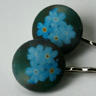 Forget-me-not hair grips