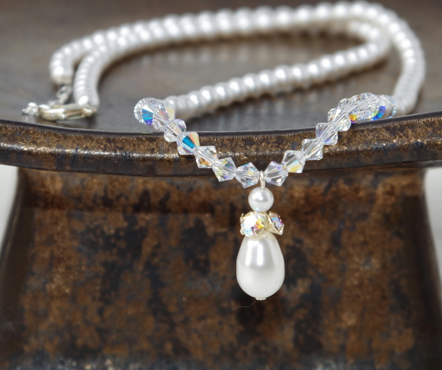 Handmade Pearl and Crystal Necklace, 18 inches long, Sterling Silver, Swarovski