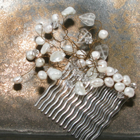 Brides Swarovski & Real Pearl Comb, Wedding, Boho, Game of Thrones, Gothic