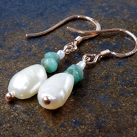 Handmade Genuine Pearl & Emerald Earrings, Rose Gold Vermeil, Gift