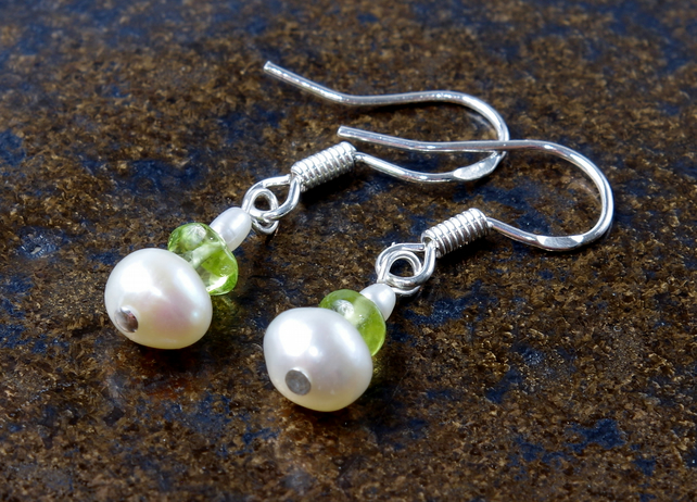 Handmade Genuine Gemstone, Pearl & Peridot Earrings, Sterling Silver, Gift, Xmas