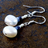Handmade Genuine Gemstone, Pearl & Sapphire Earrings, Sterling Silver, Gift