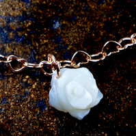 Bracelet Mother-of-pearl, rose gold onto sterling silver, heart link chain