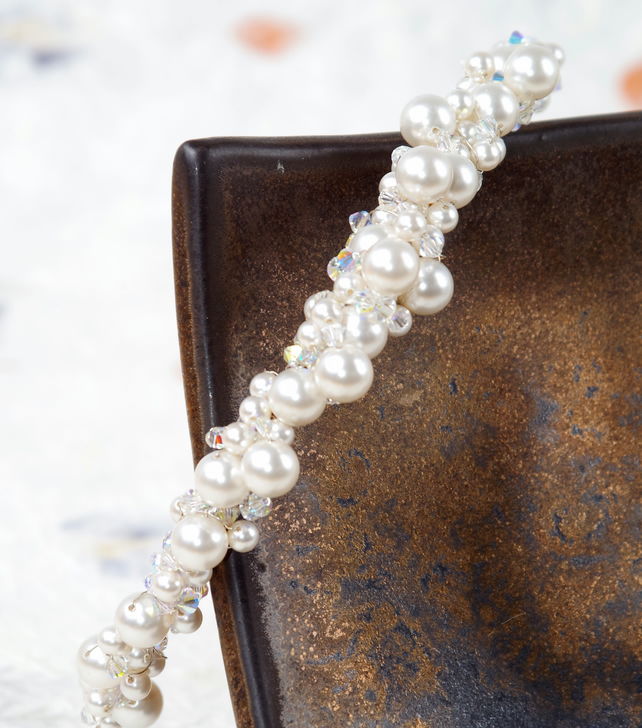 Brides Vintage Handmade Genuine Freshwater Pearl Hair Accessory, Hair Ornament