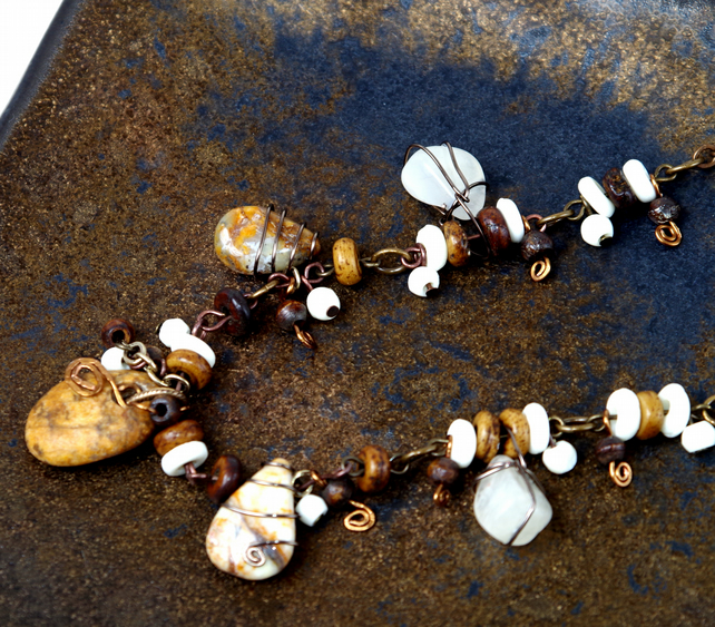 Handmade Necklace, Brown, Cream, Opal, Stone, Bronze  toned lead-free pewter