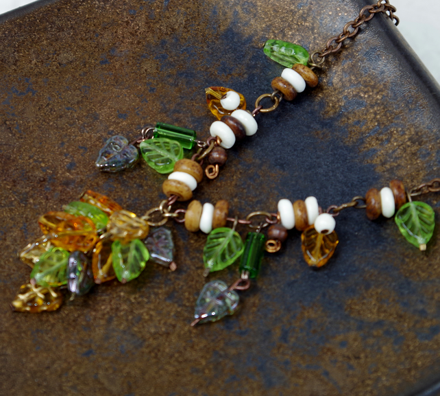 Handmade Statement Necklace, Leaf, Brown, Amber, Green, Swarovski Crystal,