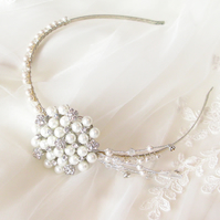 Brides Vintage Handmade Pearl Headband Hair Accessory, Bridal, Wedding