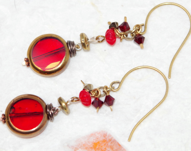Hand-crafted Red Earring, Gold Vermeil, Swarovski Crystal, Myuki Glass