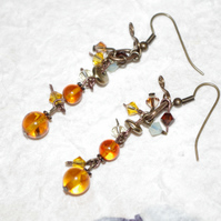 Hand-crafted Earring, Gemstone, Genuine Amber, Swarovski Opal Chrysolite