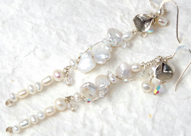 Hand-crafted Earring,  Sterling Silver, Swarovski Crystal, Freshwater Pearls