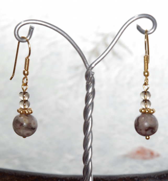 Handmade Earrings, Jasper, Gold Plated, Gemstone, Gift, Dangle,