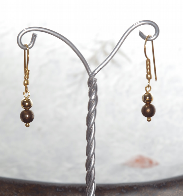 Earrings, Handmade, Gemstone, Pyrite, Gold, Gift, Stocking filler