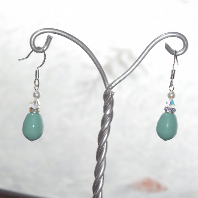 Aqua Earrings, Handmade, Swarovski Pearl & Crystal, Sterling SIlver