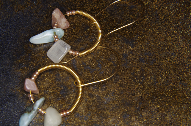 Handmade Earrings, Gemstone, Larimar, Sunstone, Gold plated, Gift
