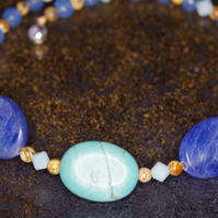 Handmade Bangle. Bracelet, Gemstone, Swarovski Crystal, Blue, Aqua