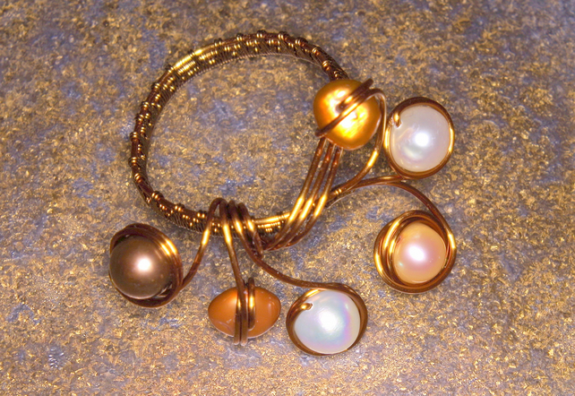 Handmade wirework ring, genuine freshwater pearl, bronze, adjustable fit