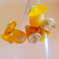 Hand-made Silver and Genuine Amber nugget ring