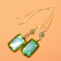 Unusual vintage style drop earring, antique effect glass, hand-made