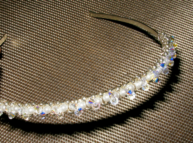 Brides Vintage Handmade Swarovski Crystal & Pearl Hair Accessory, Hair Ornament