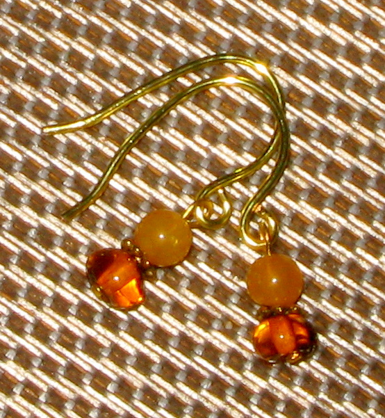 Hand-made Genuine Amber and Agate Earrings