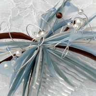 Fascinator, MOB, Bridesmaid, Wedding, comb, Ivory, Espresso and Duck-Egg Blue