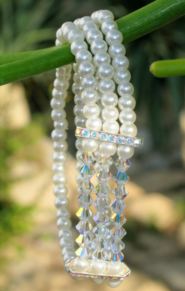Brides Vintage Handmade Swarovski Crystal and Glass Pearl 3 Row Bracelet