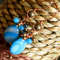 Handmade blue  earring, Copper,  Gemstone, Agate, Gift, Christmas