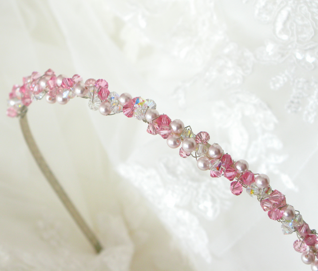Brides Vintage Handmade Swarovski Crystal & Pearl Headband, Hair Ornament